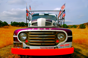 Truck With Flags1 300x200 OLD TRUCK PHOTOS FEATURED IN YOUTUBE VIDEO PROMOTING COUNTRY SONG